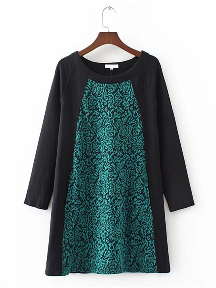 Plus Size Casual Women Printed Patchwork Dress
