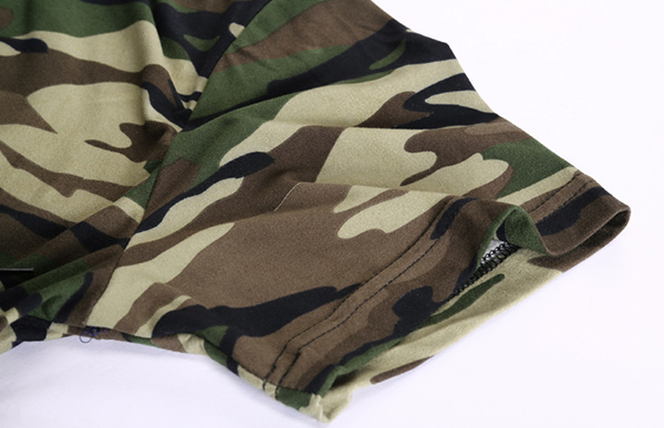 Summer Men's Casual Long Hooded T-shirt Camouflage Sports Shorts-sleeved T-shirt