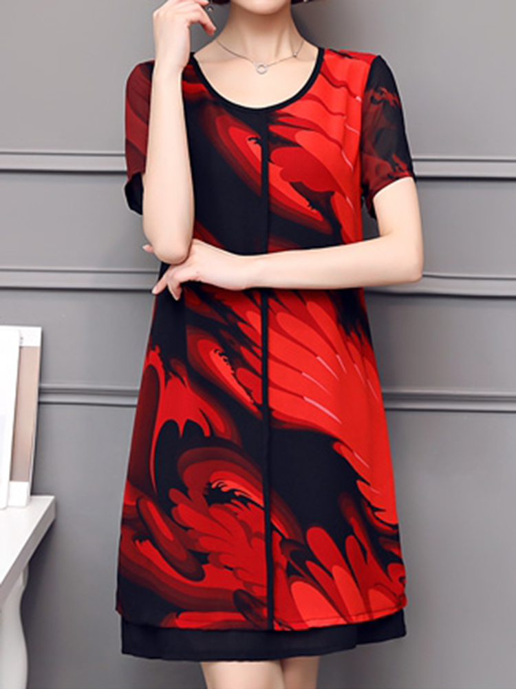 Elegant Women Chiffon Dress Patchwork Flowers Printing Two Layers Dresses