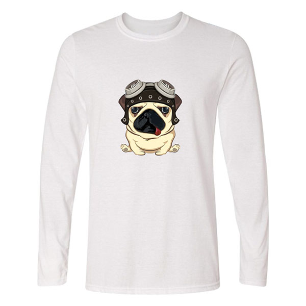 Funny Pug 3D Printed Long Sleeve Pure Cotton T-shirts