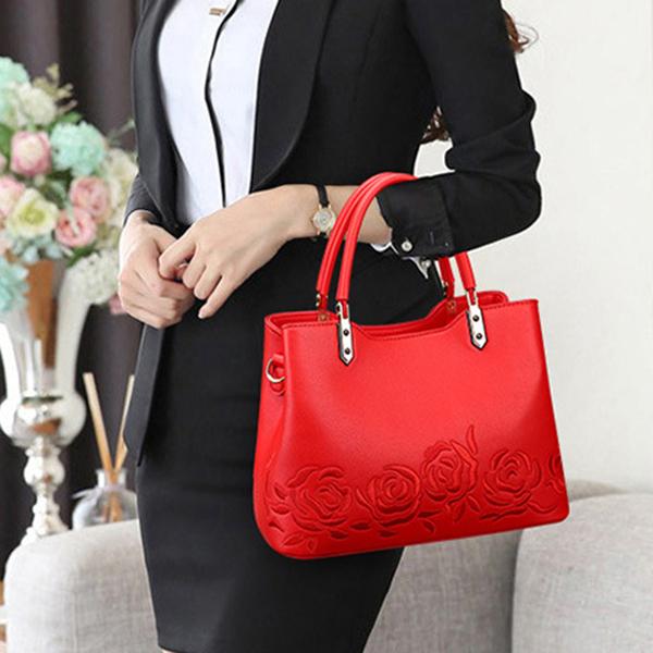 Women Quality PU Leather Embroidery Handbag Shoulder Bag