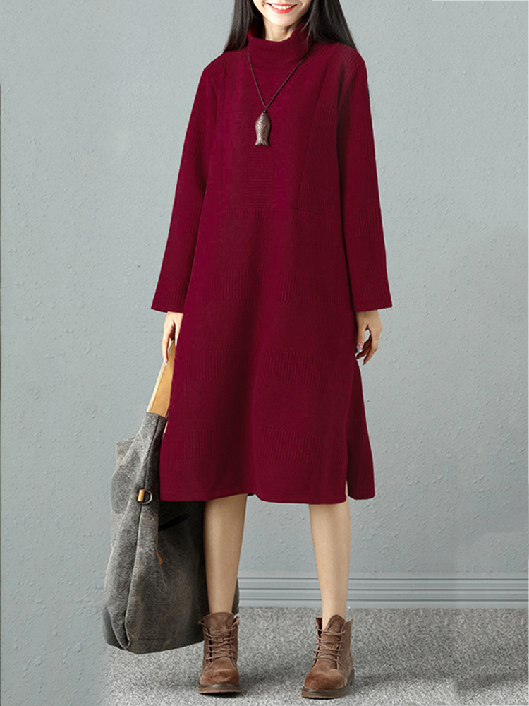 Elegant Women Pure Color High Collar Sweater Dresses