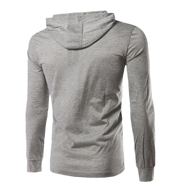 Men's Solid Color Hooded T-Shirts Casual Pure Cotton Long Sleeve Tees