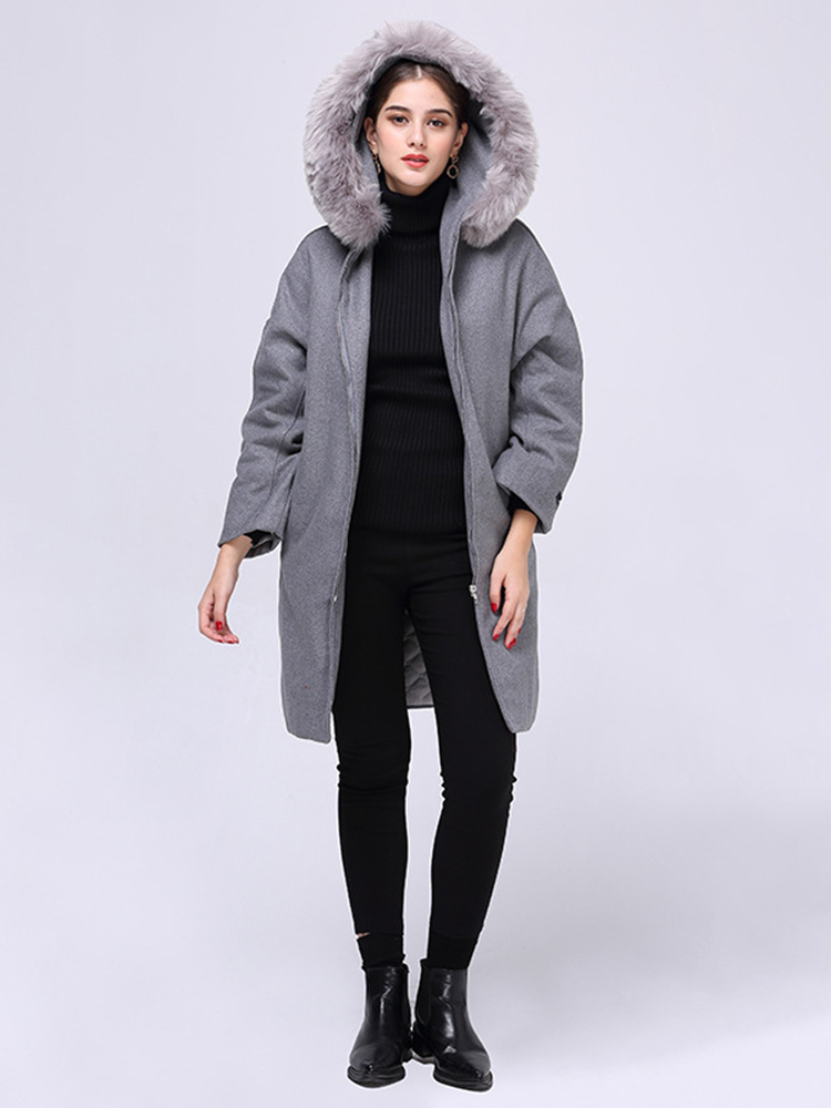 Plus Size Casual Women Faux Fur Collar Hooded Woolen Coats