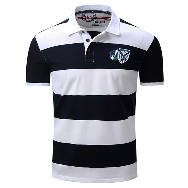 Spring Summer Mens Casual Stripe Printing Golf shirt Cotton Business Short-sleeved T-shirt