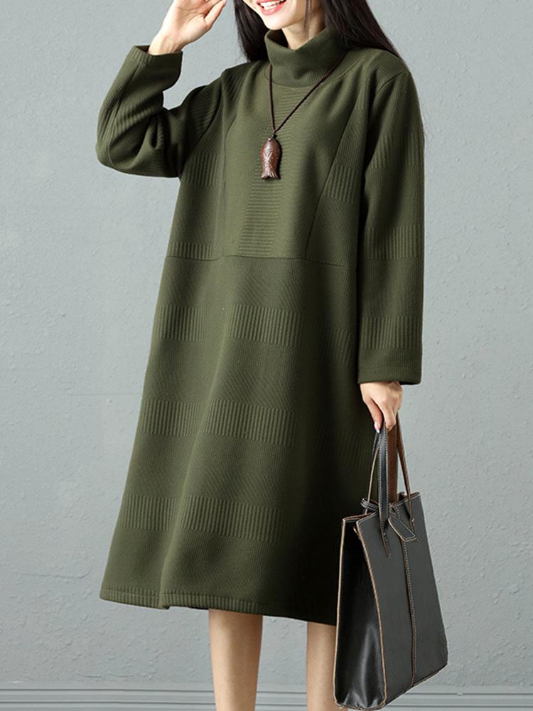 Elegant Women Pure Color High Collar Sweater Dresses