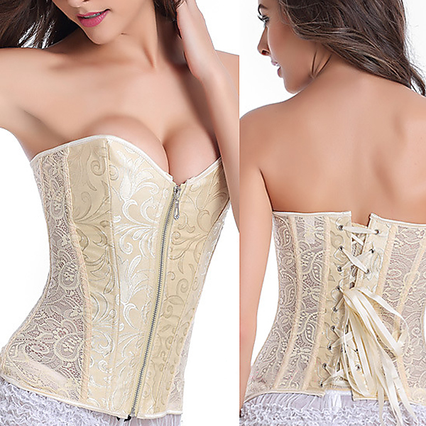 Zipper Abdomen Slimming Wedding Push Up Chest Lace Corset