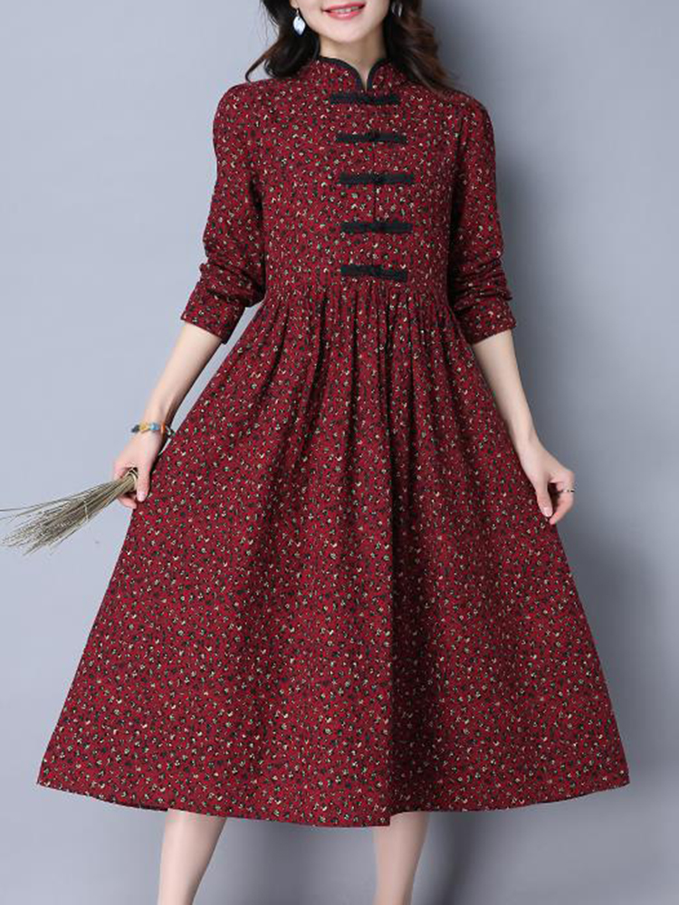 Folk Style Women Long Sleeve Frog Buttons Printed Swing Dress