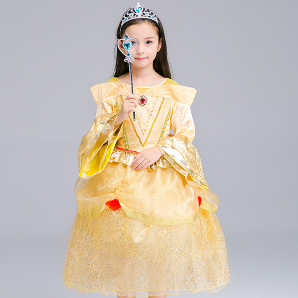 Kid Girls Bell Sleeve O-Neck Fancy Princess Dress