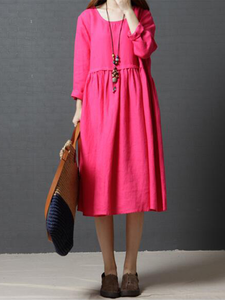 Loose Women Long Sleeve Pure Color O-Neck Midi Dress with Pockets