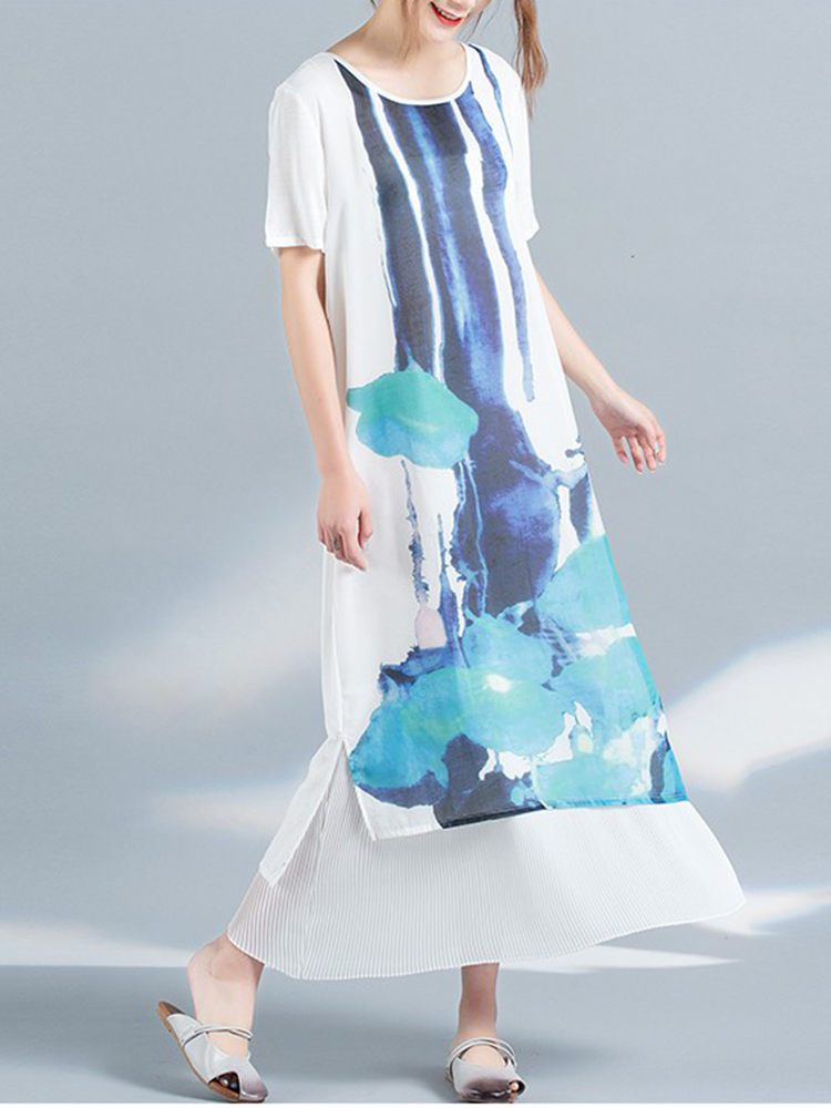 Casual Women Scoop Neck Printed Short Sleeve Layered Maxi Dress