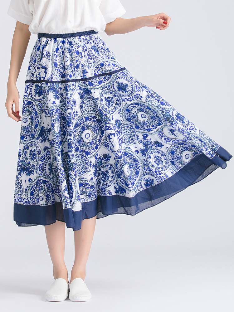 Floral Printed Midi Swing Skirt