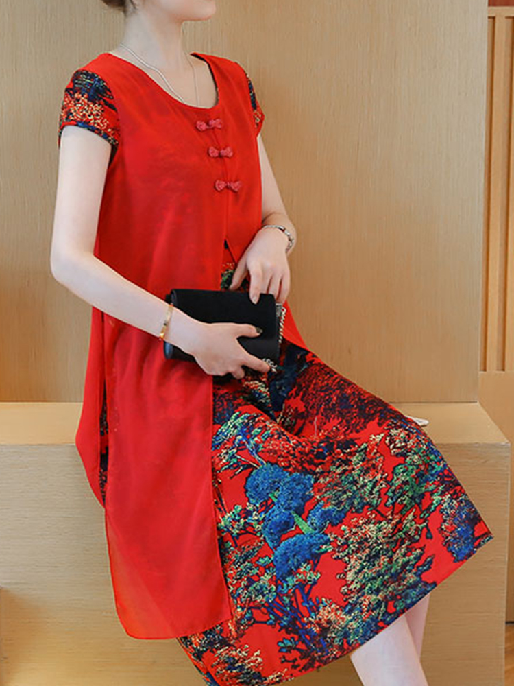 Elegant Women Cap Sleeve Floral Printed Patchwork Fake Two-piece Dress