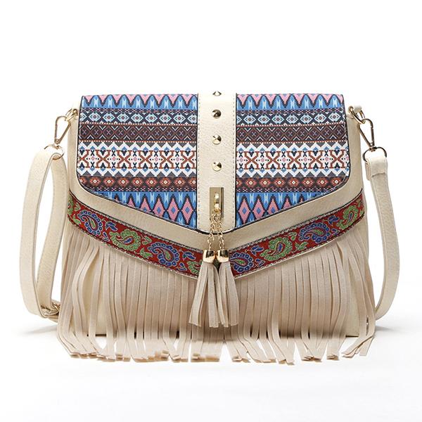 Women PU Leather National Tassel Vintage Casual Shoulder Bag Crossbody Bag