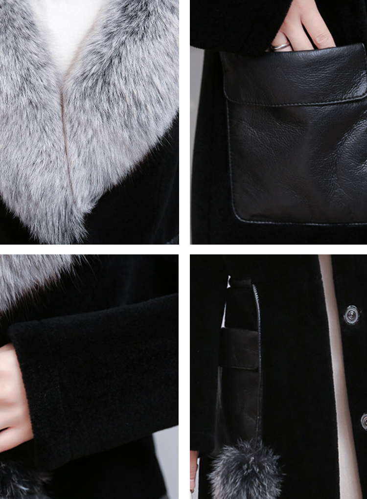 Faux Fur Collar PU Leather Patchwork Winter Coat