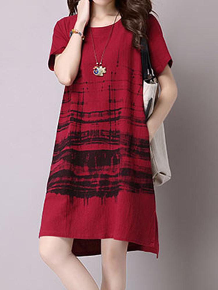 Casual Women Short Sleeve Printed Pocket Dress