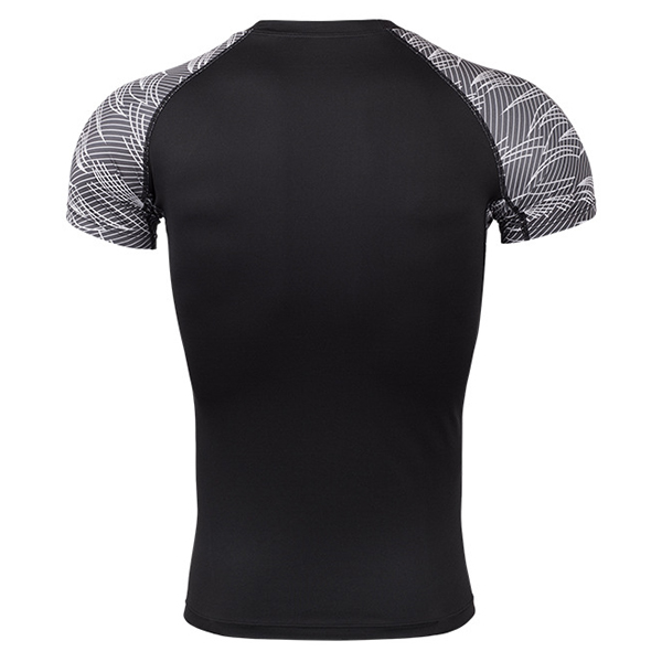 Summer Mens Sports Gym Fitness T-shirt Training Running Tight T-shirt Elastic Quick Dry Tops Tees