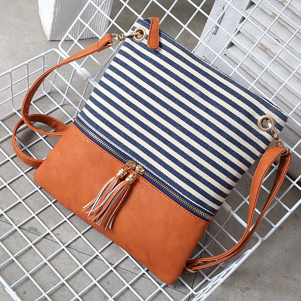 Women Canvas Stripe Fashion Shoulder Crossbody Bag