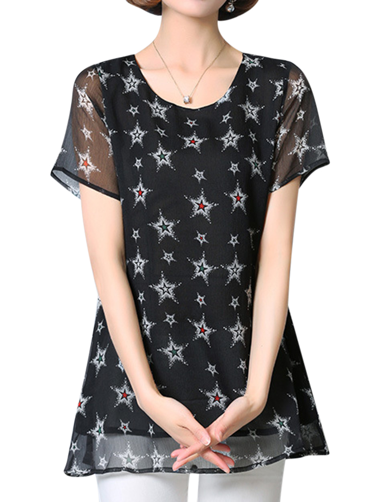 Casual Women Short Sleeve Chiffon Star Pattern Blouses