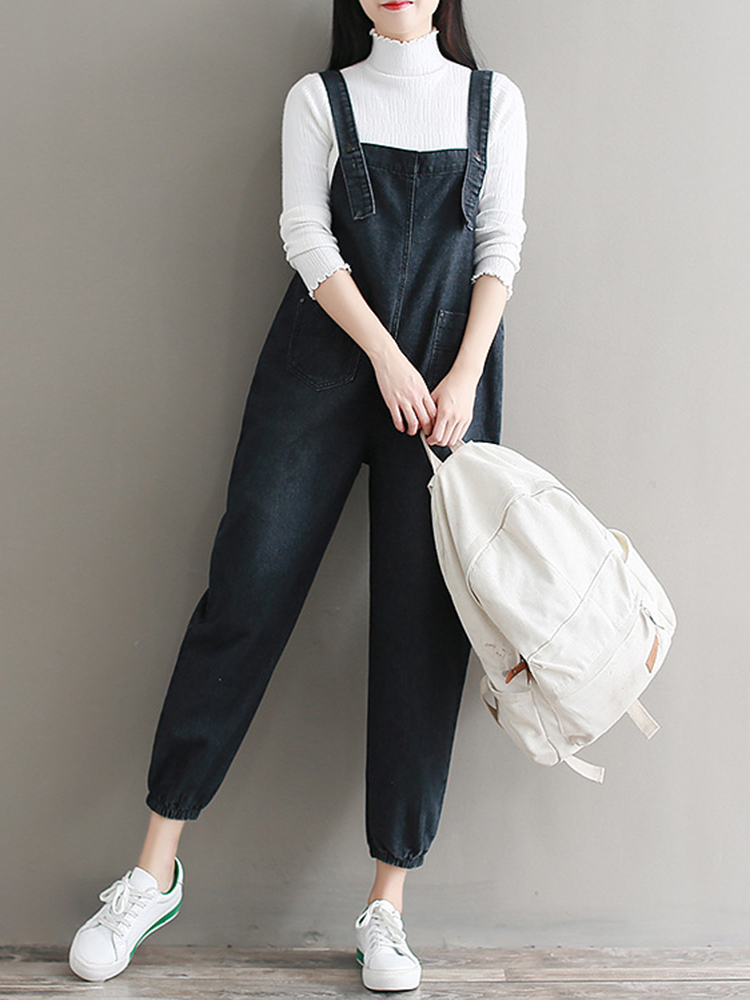 Mori Girl Front Pocket Denim Overall
