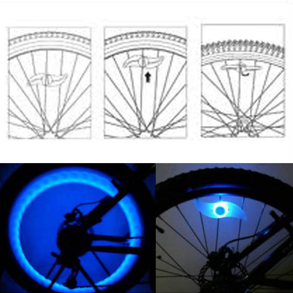 LED Bicycle Wheel Valve Spoke Wire Tyre Bright Flashlight Spoke Rim