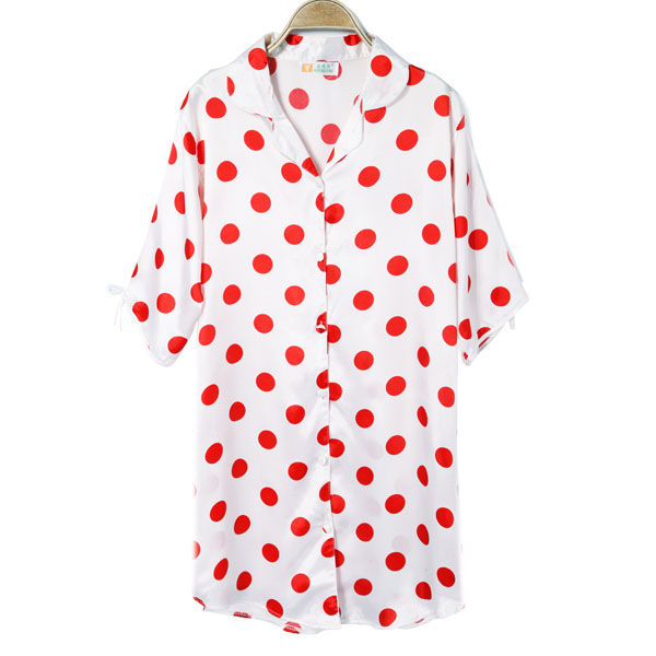 Lovely Dot Cardigan Faux Silk Nightgown Large Yard Home Pajams