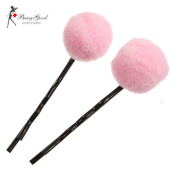 Young Girls Cute Wool Ball Shaped Hair Clips Hair Accessories