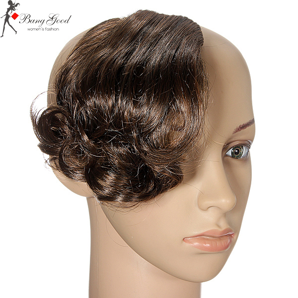 Fashion Synthetic Clip on Front Fringe Curly Hair Piece For Women