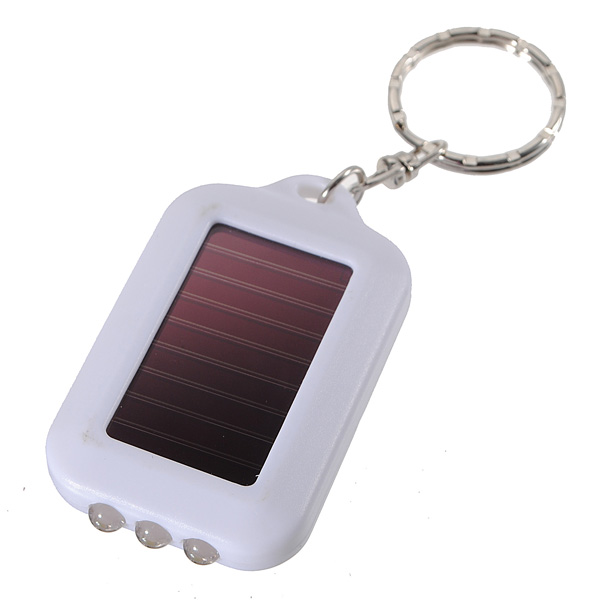 3 LED Solar Panel Energy Flashlight Torch Lamp Keychain Light