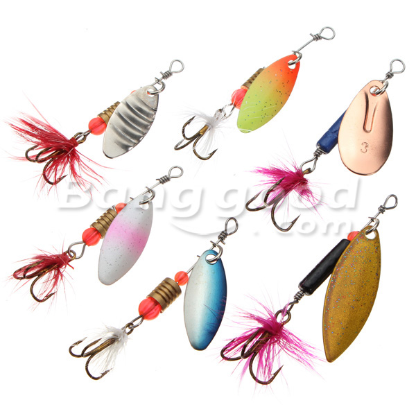 ZANLURE 30x Metal Assorted Laser Fishing Lure Spinner Baits Feather Hook Set
