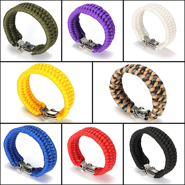 7 Strands ParaCord Bracelet String Cord Hand Ring With Quick Release Shackle Buckle For Survival
