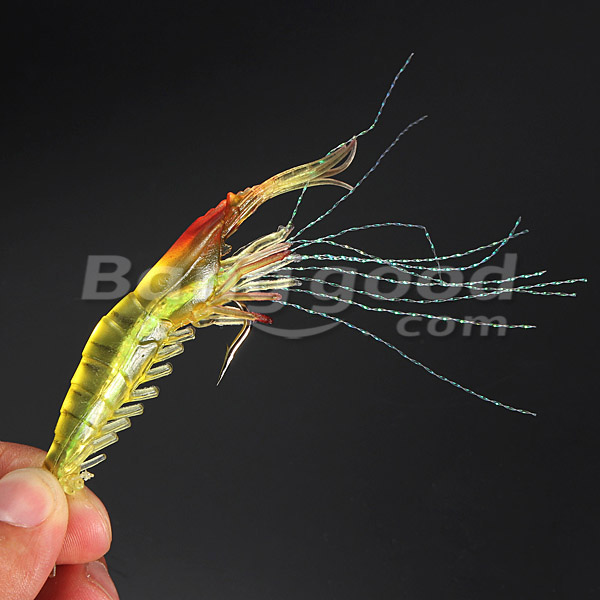 ZANLURE Silicone Fishing Simulation Noctilucent Soft Shrimp Lure Hook Bait
