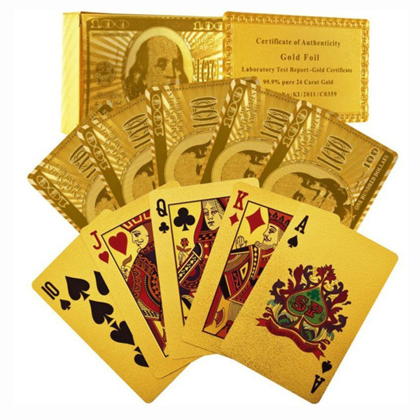 Certified Pure 24 Carat Gold Foil Plated Poker Cards Pe