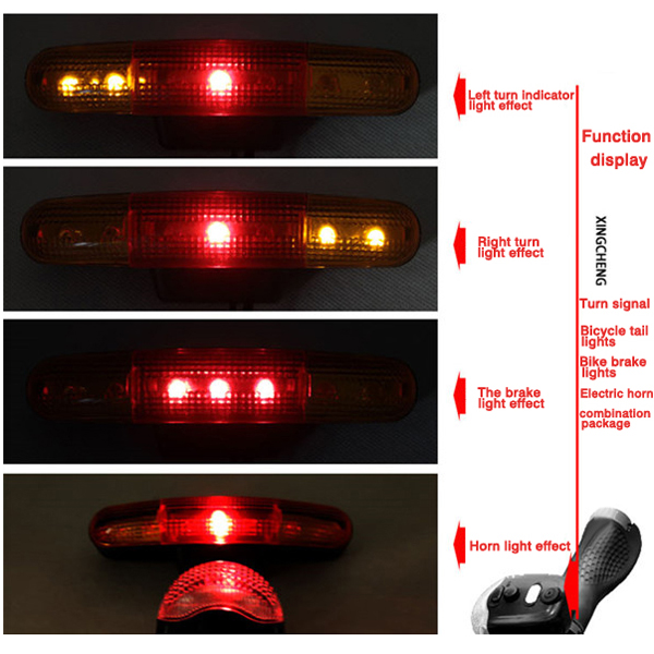 3 In 1 7 Led Cycling Turn Signal Brake Light Horn Indicator Warn