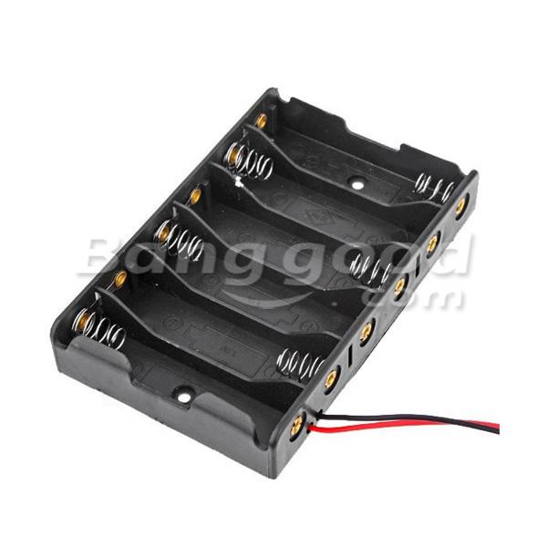 10Pcs 6*AA Battery Case Storage Holder DC2.1 Power Jack For Arduino