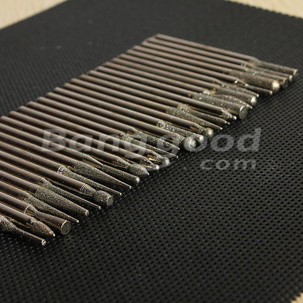30pcs 3MM Titanium Diamond Burrs Bur Bit Set Dremel Rotary Tool Set