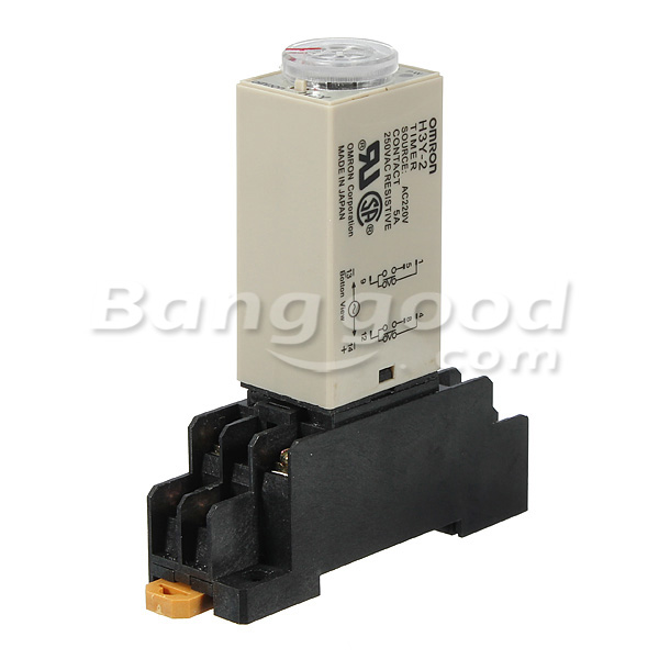 H3Y-2 220V Power On Time Delay Relay Solid State Timer DPDT Socket