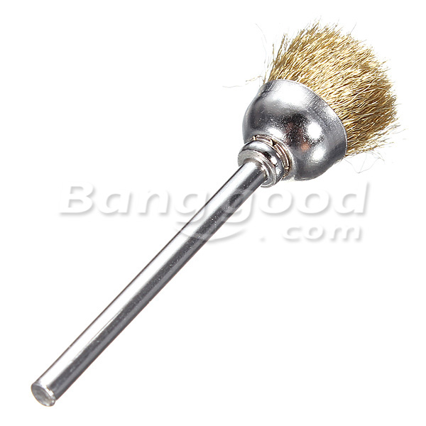 3mm Brass Wire Wheel Brushes Shank For Rotary Dremel Drill Tools