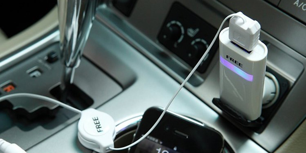 Universal Car Charger Adapter with Retractable Dual USB Port