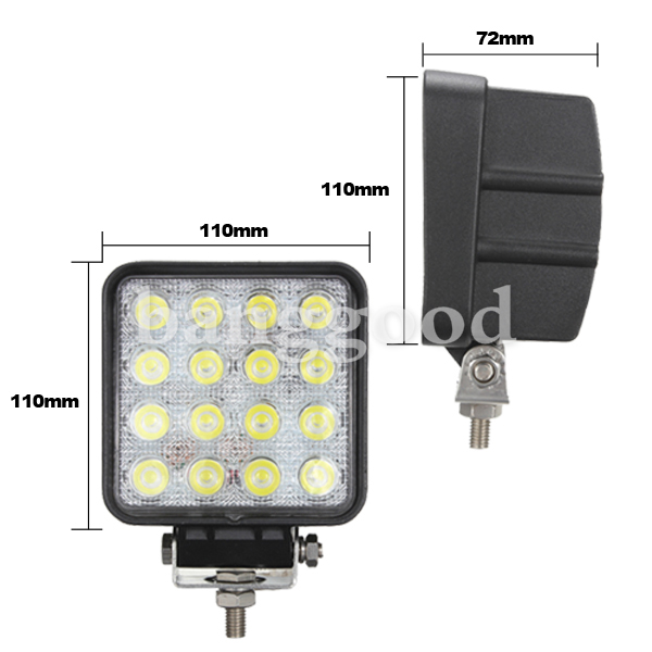 48W 16LED Spot work Lamp Light For Trailer Off Road Boat 2V 24V