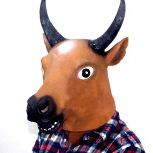 Cow Head Horse Face Animal Mask Prop for Halloween Festival Costume
