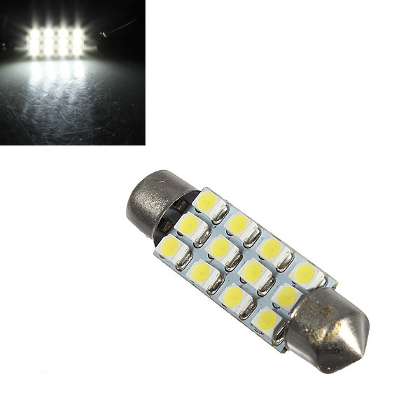 Car Dome 12 LED 1210 3528-SMD Light Lamp Bulb Interior White