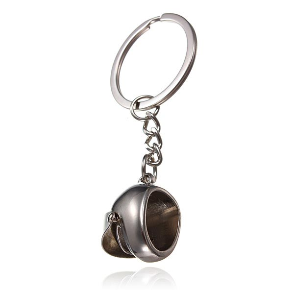 Car Motorcycle Helmet Auto Key Chain Ring Keychain Keyring Silver