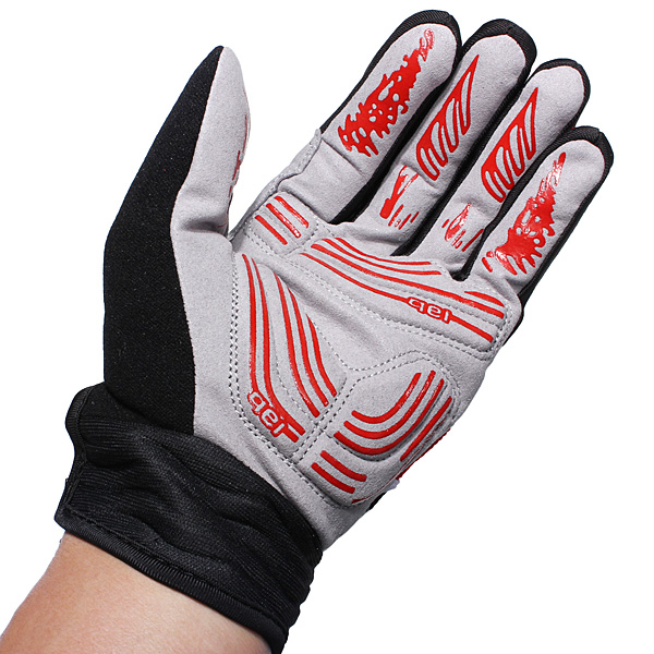 Red Motorcycle Motor Bike Sports Gel Silicone Full Finger Warm Gloves