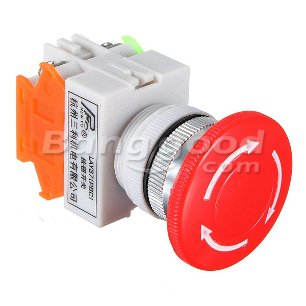 2pcs N/O N/C Emergency Stop Switch Push Button Mushroom 4 Screw Terminals