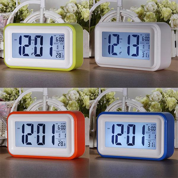 Touch Sensor LCD LED Digital Light Control Alarm Clock Blue Backlight Time Calendar Thermometer