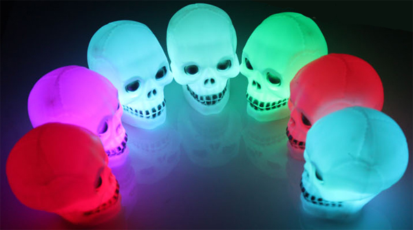 Halloween Luminous Colorful LED Flash Skull Night Light Lamp Gift Toy