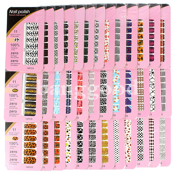 5pcs Nail Art Polish Foils Decal Stickers Tips Wraps Decoration