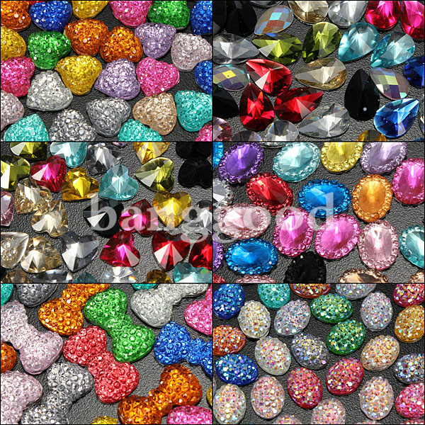 Glass Bow Tie Nail Art Glitters Beads DIY 12 Colors Decorations