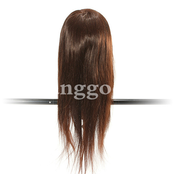 60% Real Hairdressing Brown Hair Training Mannequin Head Clamp